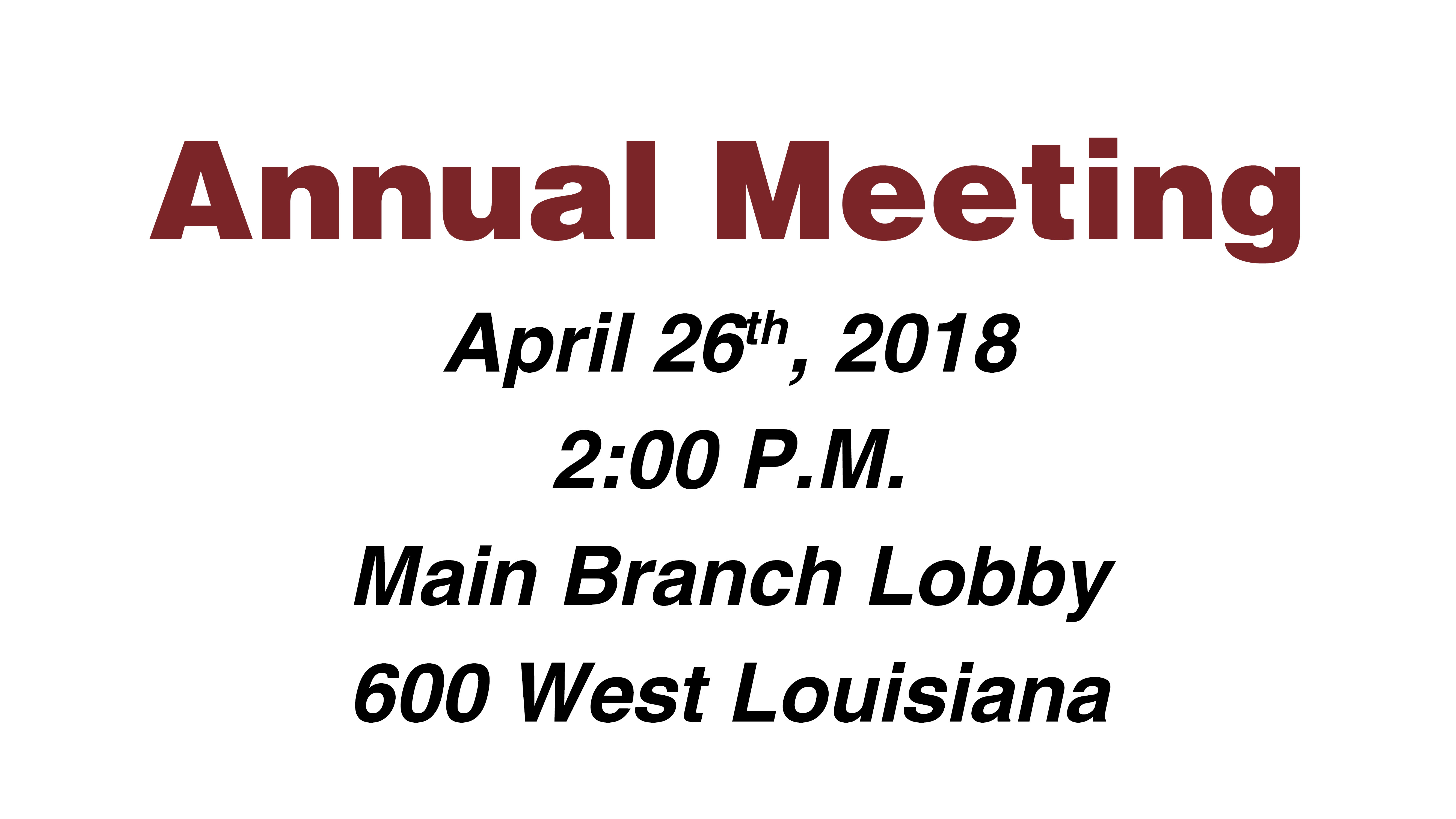 Annual Meeting Info
